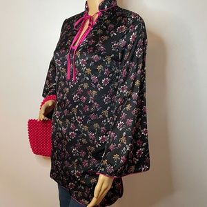 Asian Inspired red black pink floral kimono tunic!